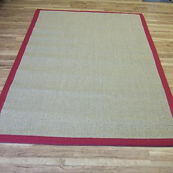 Sisal Rugs In Linen With Red Border