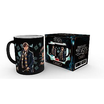 Fantastic beasts Thermo effect Cup Newt Scamander black, white, printed, ceramic, in gift box.