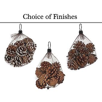 Net Bag of 12 Glitter Pine or Fir Cones for Christmas Crafts
