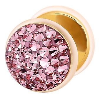 Falske snyder øret Plug Guld belagte, ørering, krop smykker, med Multi krystal lys Pink