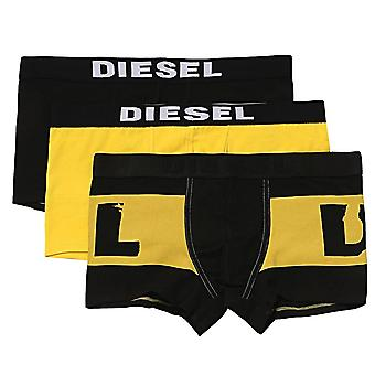 Diesel 3-Pack Boxer Trunk UMBX-Damien, Yellow / Black / Black With Yellow Logo Print, Large