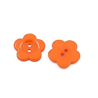 Packet 50+ Orange Acrylic 16mm Flower 2-Holed Sew On Buttons HA07140