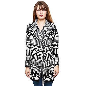 Knit Coatigan Aztec Pattern Thick Cardigan
