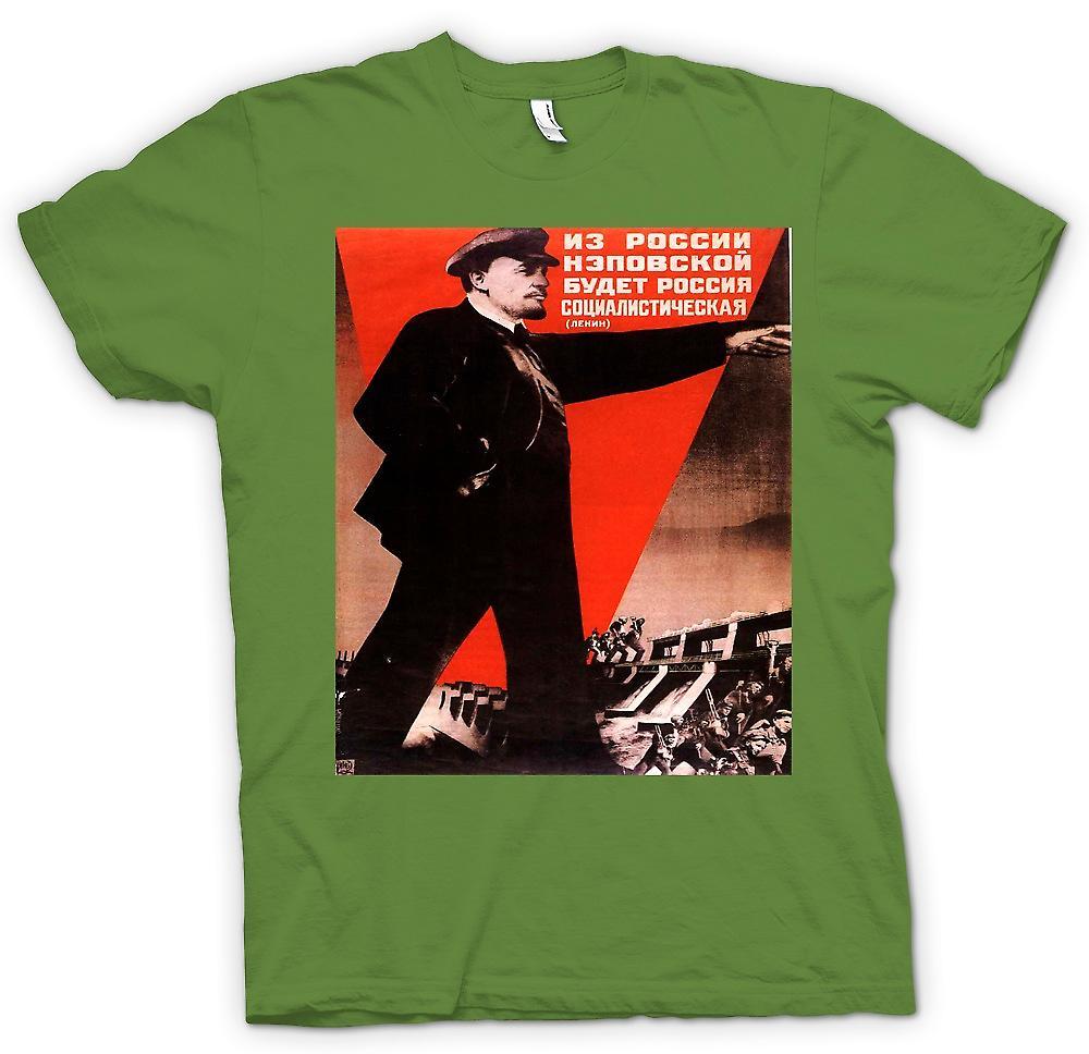Mens t-skjorte-Lenin russisk propaganda plakat