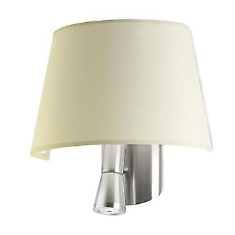Satin Nickel Wall Lamp With Beige Shade