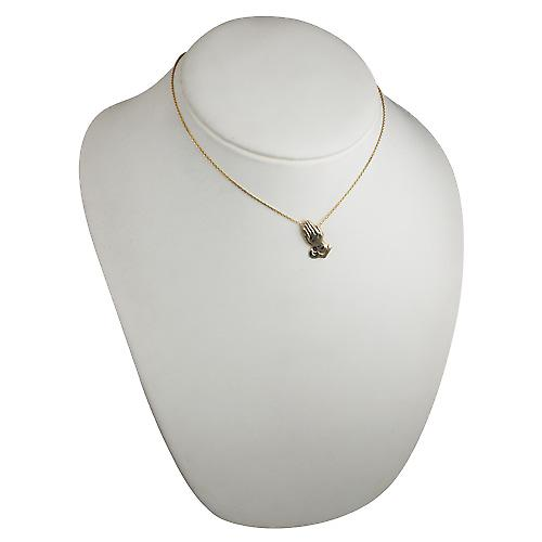 9ct Gold 25x13mm Praying Hands Pendant with a cable Chain 16 inches Only Suitable for Children