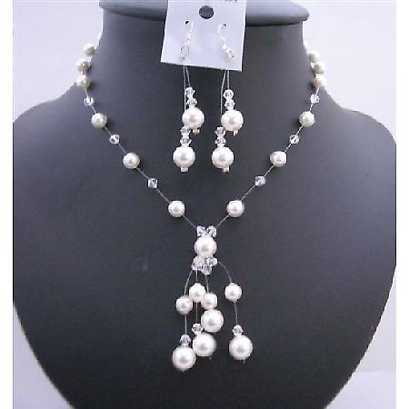 Wedding White Pearls Clear Crystals Swarovski Necklace Jewelry Set