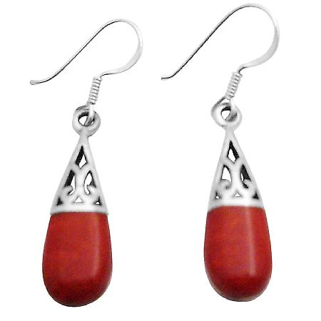 Coral Shell Teardrop Sterling Silver Filigree Earrings Inlay Teardrop