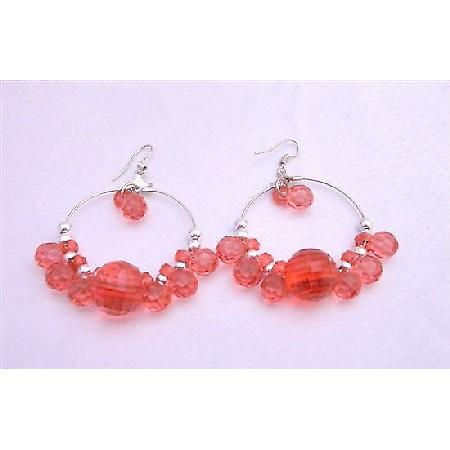 Red Simulated Crystals Beads Silver Hoop Earrings Gorgeous Earrings