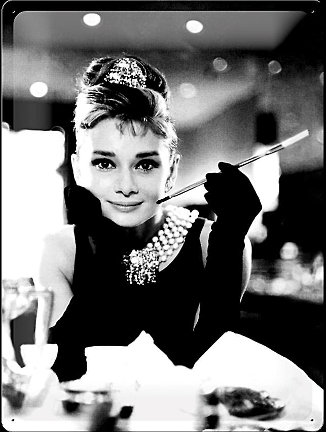 Audrey Hepburn (Holly Golightly)  large embossed steel sign   (na 4030)