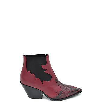 Casadei Red Leather Ankle Boots