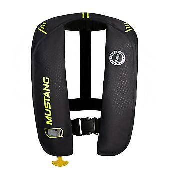 Mustang MIT 100 Inflatable Manual PFD - Black/Flourescent Yellow-Green