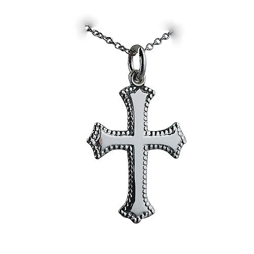 Silver 26x19mm plain Cross with embossed border with a rolo Chain 24 inches