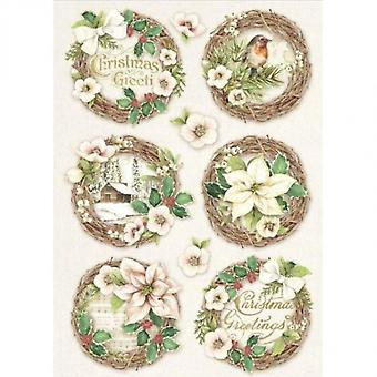 Stamperia Rice Paper A4 Christmas Vintage Birds & Spheres (DFSA4340)