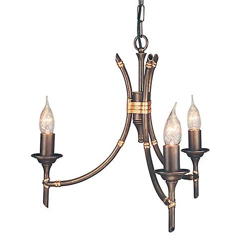 Elstead BB3 BRZ PATINA Bamboo Themed 3 Arm Chandelier in a Bronze Patina