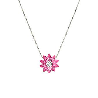 Eternal Collection Lotus Rose Pink Austrian Crystal Silver Tone Pendant Necklace