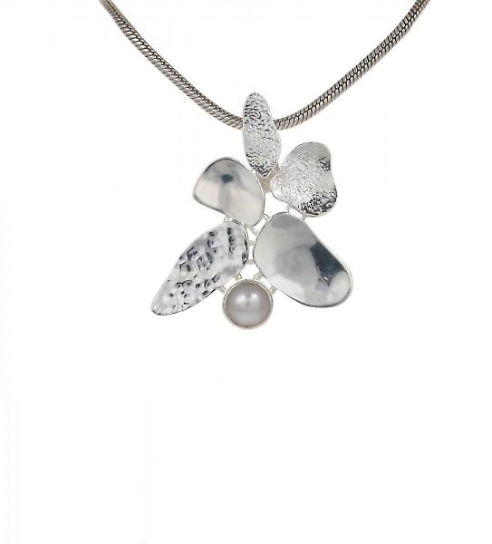 Cavendish French Silver Leaves and Pearl Pendant without Chain