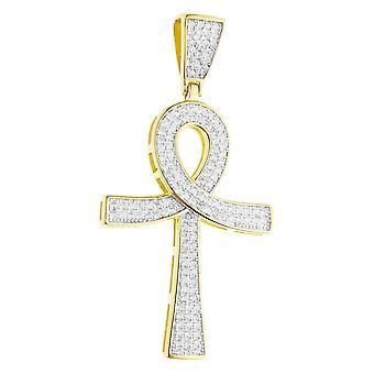 Premium Bling - 925 sterling sølv Ankh krysse anheng-gull
