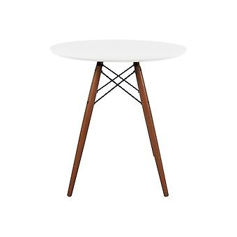 Fusion Living Eiffel Inspired Small White Circular Dining Table With Walnut Wood Legs