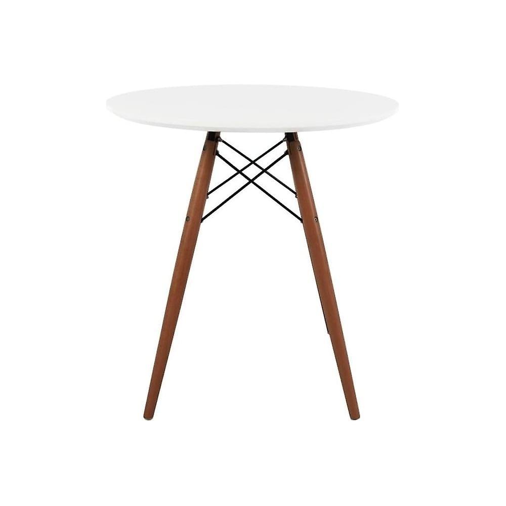 Fusion Living Eiffel inspiré petite table à hommeger circulaire blanche avec des jambes en bois de noyer