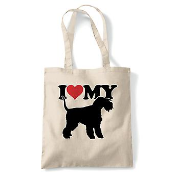 I Love My Lakeland Terrier Tote - France Dog Gift Fur Baby Lover Propriétaire Mans Best Friend (fr) Reusable Shopping Cotton Canvas Long Handled Natural Shopper Eco-Friendly Mode