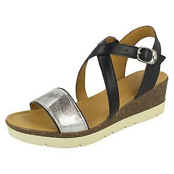 Ladies Padders Wedge Heeled Sandals Primrose