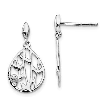 925 Sterling Silver White Ice Diamond Leaf Post Dangle Earrings - .010 dwt