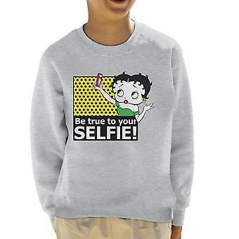 Betty Boop True To Your Selfie Kid's Sweatshirt