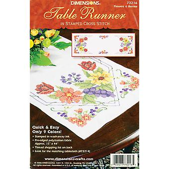 Flowers & Berries Table Runner Stamped Cross Stitch 15