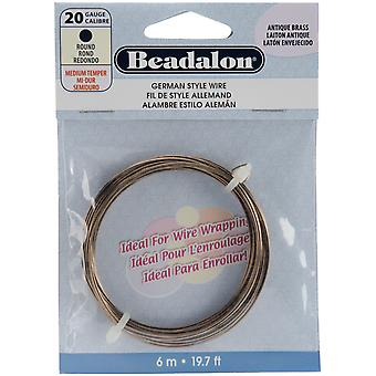 German Style Wire Antique Brass 20 Gauge 19.68 Feet Pkg Bead180 R 020