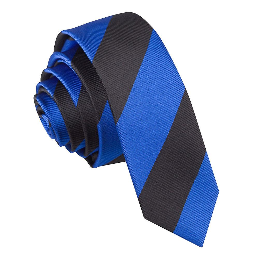Striped Royal Blue & Black Skinny Tie