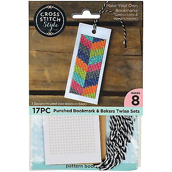 Bookmarks W/Bakers Twine Punched For Cross Stitch-4.75