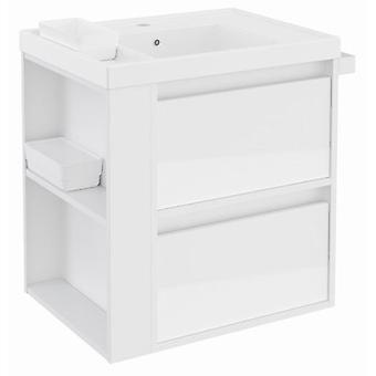 Bath+ Sink Cabinet 2 Drawers With Resin White Gloss White 60Cm