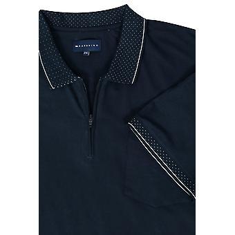 BadRhino Navy Short Sleeve Zip Neck Polo Shirt