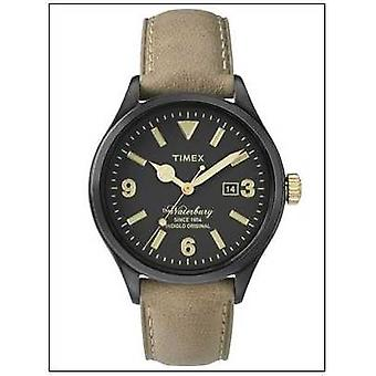 Timex Mens The Waterbury Beige Leather Strap Black Dial TW2P74900 Watch