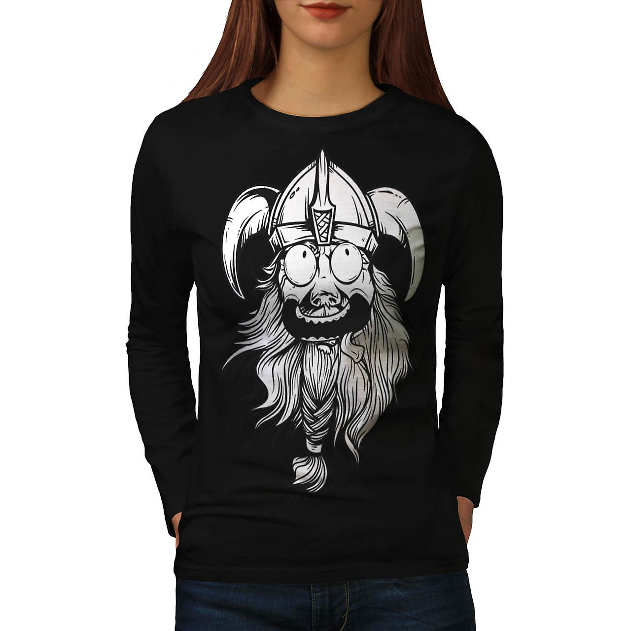 Amazing Viking Head Nordic Boat Women Black Long Sleeve T-shirt | Wellcoda