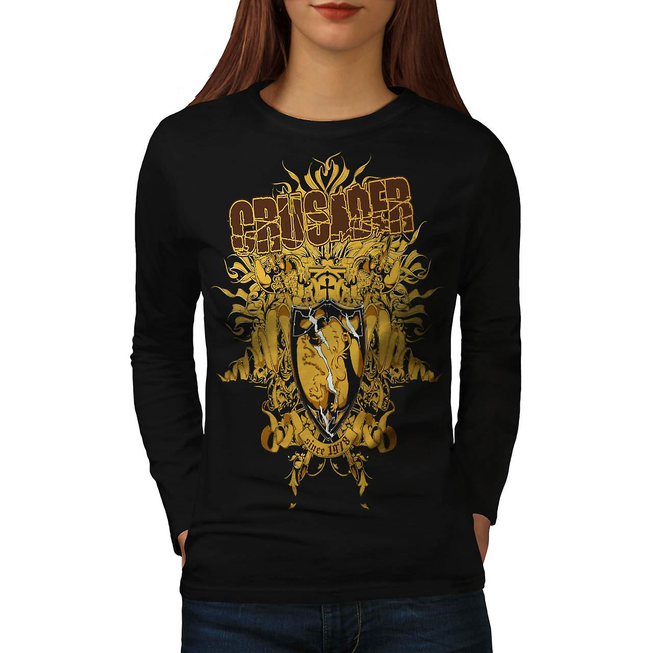 Crusader Knight Hero Warriors Women Black Long Sleeve T-shirt | Wellcoda