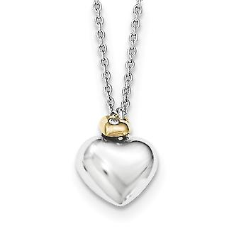 Sterling Silver White Ice Diamond Gold-plated Double Heart met 2 inch Ext halsketting - 16 Inch