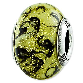 Sterling Silver Reflections Yellow With Black Swirls Italian Murano Bead Charm