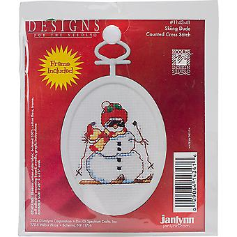 Skiing Dude Mini Counted Cross Stitch Kit-2.75