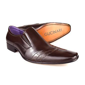 Gucinari F016R-P33 mænd mørke brun læder Slip på sko