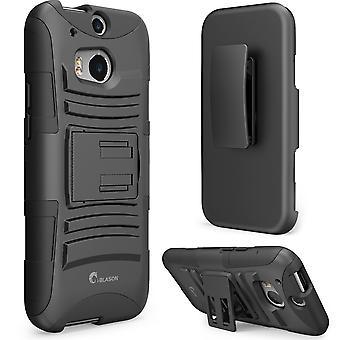 HTC One m8 caso, i-Blason primer serie doble capa cubierta de funda con soporte y correa de cierre para HTC One - negro