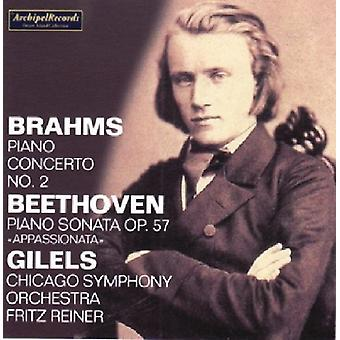 Brahms / Beethoven / Gilels / Cso / Reiner - Piano Concerto nr. 2 i B flad store / Piano Sonat [CD] USA import