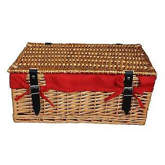 Large Wicker Red Cotton Lined Hamper