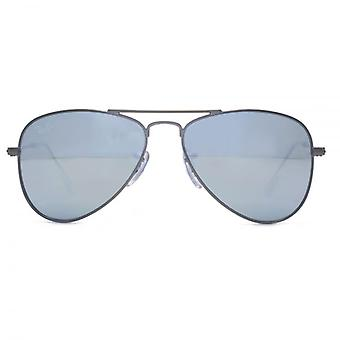 Ray-Ban Junior Aviator Sunglasses In Matte Gunmetal Grey Flash