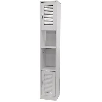 Louvre - Tall Louvre Door Bathroom Storage Cabinet With Shelves - White