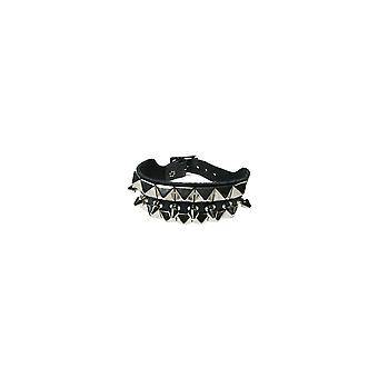 Bullet 69 3 Row Pyramid & Spike Stud Wristband