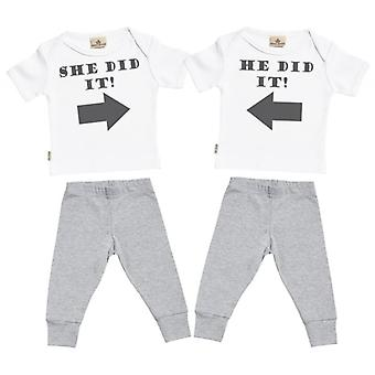 Spoilt Rotten She Did It He Did It Baby T-Shirt & Baby Jersey Trousers Twins Outfit Set
