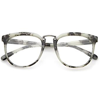 Classic Metal Bridge Square Flat Clear Lens Horn Rimmed Eyeglasses 55mm