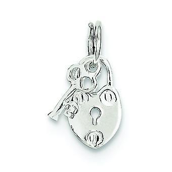 Sterling Silber poliert sperren und Schlüssel Charm -.7 Gramm